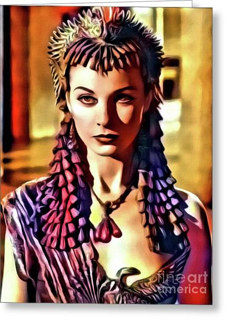 Vivien Leigh, Vintage Actress. Digital Art By Mary Bassett Greeting Card by Mary Bassett