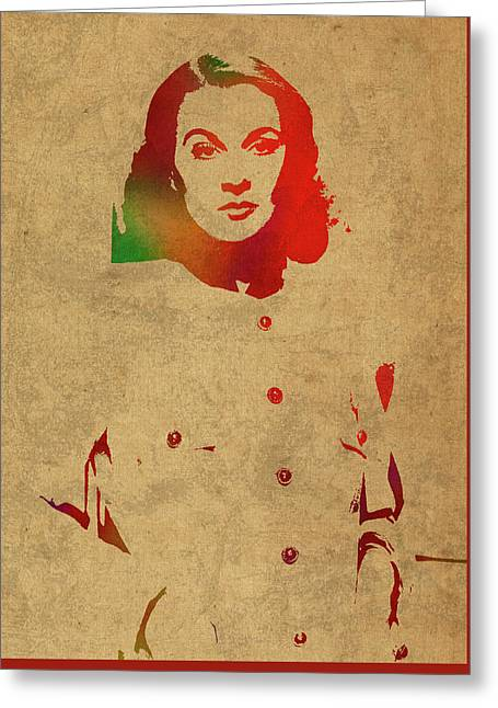 Vivien Leigh Watercolor Portrait Greeting Card by Design Turnpike