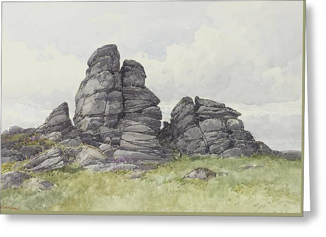 Vixen Tor, Near Merivale Bridge, Dartmoor Greeting Card by Frederick John Widgery