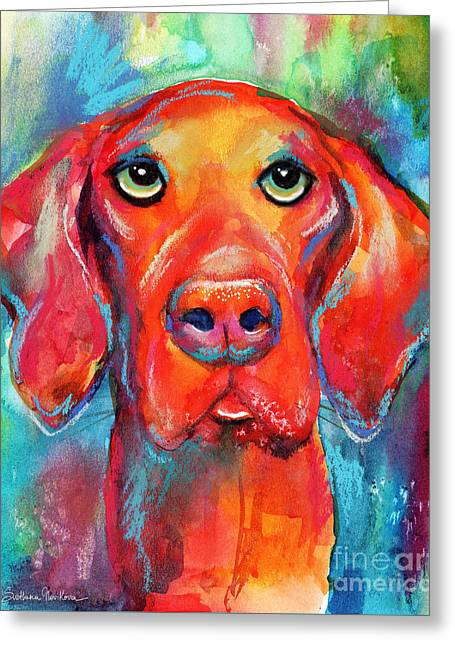 Vizsla Dog Portrait Greeting Card by Svetlana Novikova
