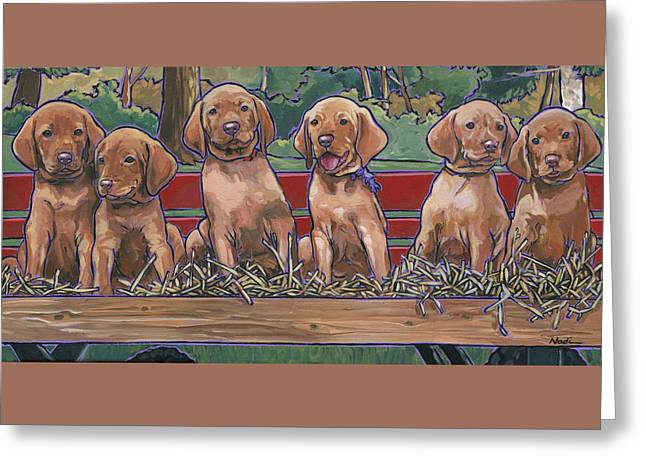 Greeting Card featuring the painting Vizsla Pups by Nadi Spencer