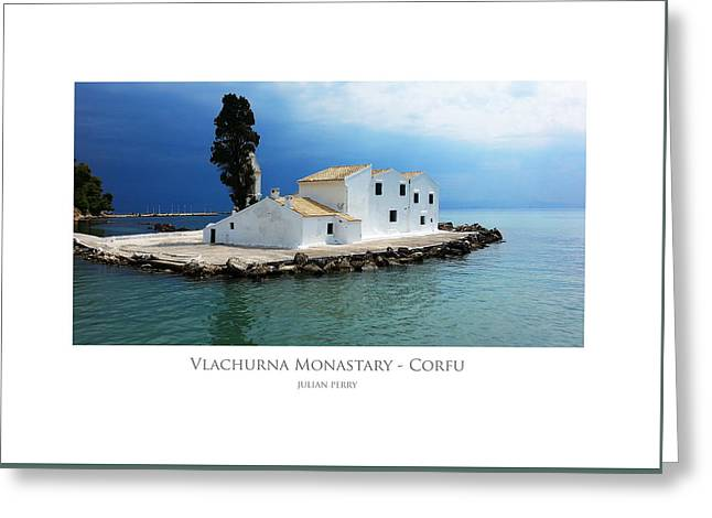 Greeting Card featuring the digital art Vlachurna Monastary - Corfu by Julian Perry