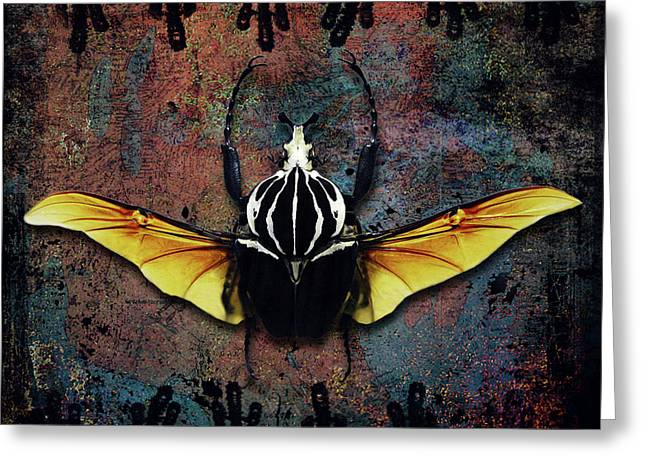 Vlad Tepes Insectus, Winged Beetle, Gothic Theme Greeting Card by Tina Lavoie