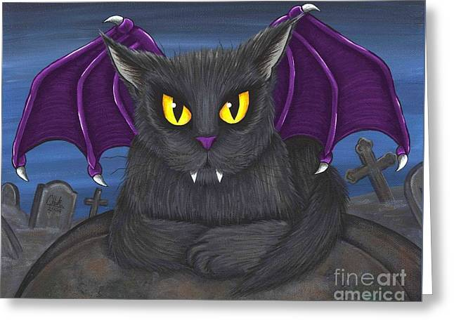 Greeting Card featuring the painting Vlad Vampire Cat by Carrie Hawks