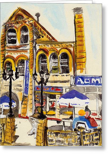 Greeting Card featuring the painting Vladivostok Train Station by Julie Todd-Cundiff
