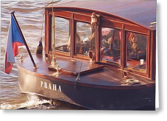 Vltava River Boat Greeting Card by Shawn Wallwork