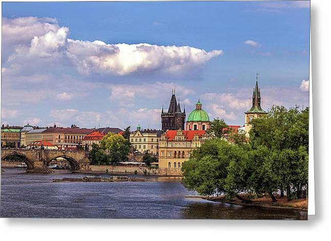 Vltava River, Smetana Museum And Novotneho Lavka In Background Greeting Card by Doc Braham