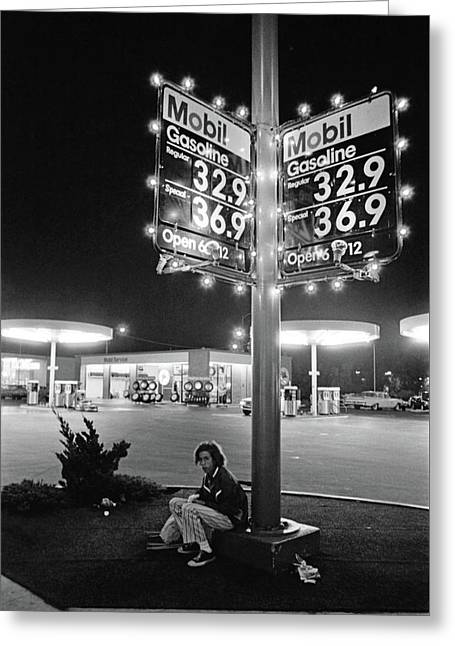 Vn Blvd.-073-34 Mobil Gasoline Sign Greeting Card by Richard McCloskey