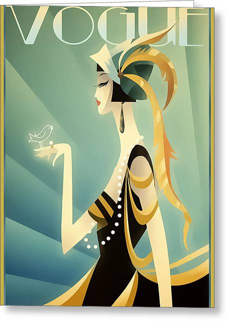 Greeting Card featuring the digital art Vogue - Bird On Hand by Chuck Staley