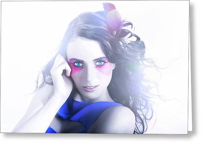 Vogue Style Woman With Beautiful Bright Makeup Greeting Card