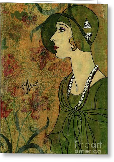 Greeting Card featuring the painting Vogue Twenties by P J Lewis
