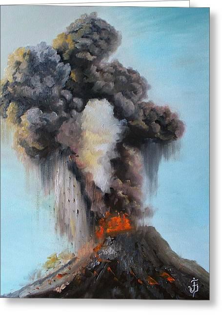 Volcan De Fuego Greeting Card by Jose Velasquez