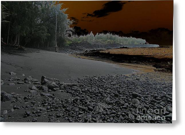 Volcanic Beach Greeting Card by Silvie Kendall