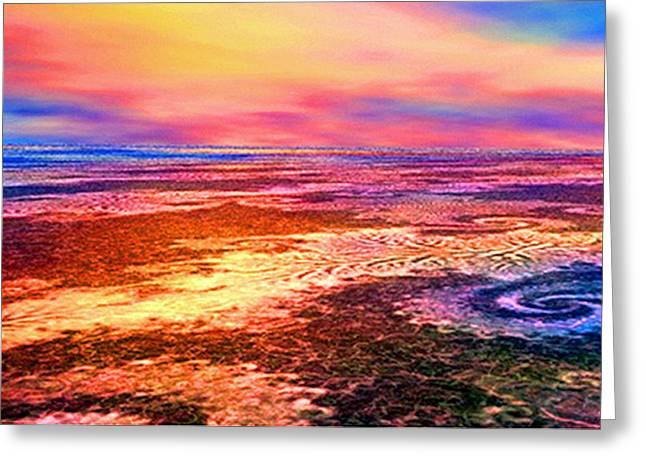 Volcanic Beachead Greeting Card by Rebecca Phillips