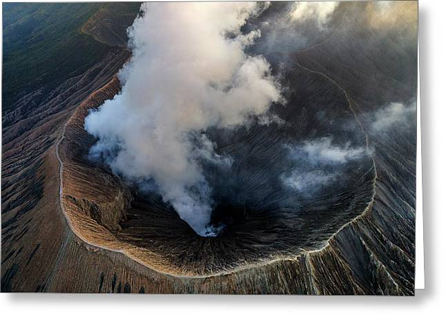 Volcanic Crater From Above Greeting Card