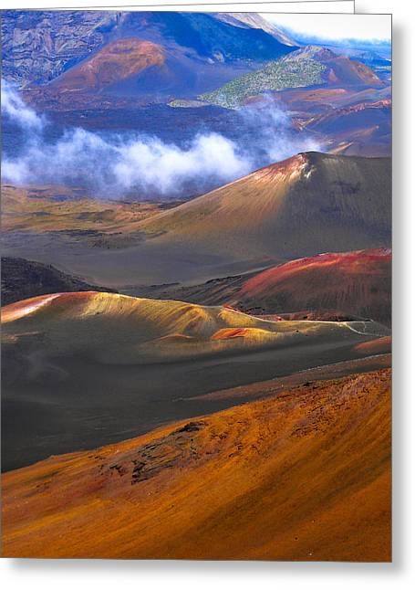 Volcanic Crater In Maui Greeting Card by Debbie Karnes