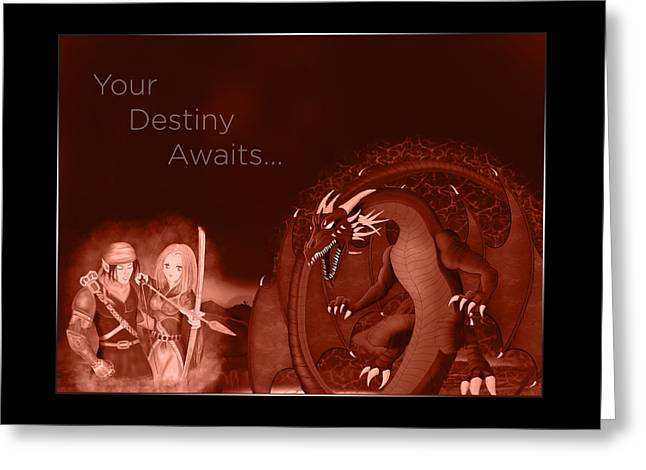Greeting Card featuring the digital art Volcanic Destiny by Raphael Lopez