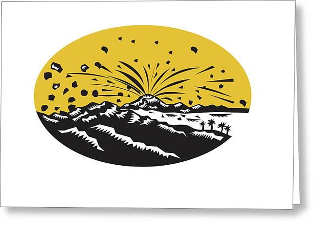 Volcanic Eruption Island Formation Oval Woodcut Greeting Card by Aloysius Patrimonio