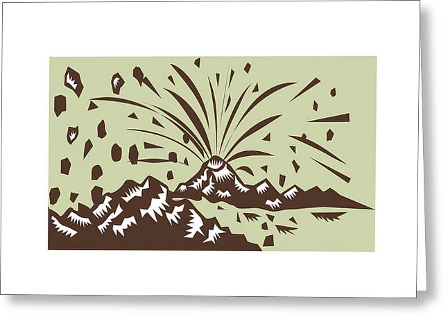 Volcano Eruption Island Woodcut Greeting Card by Aloysius Patrimonio