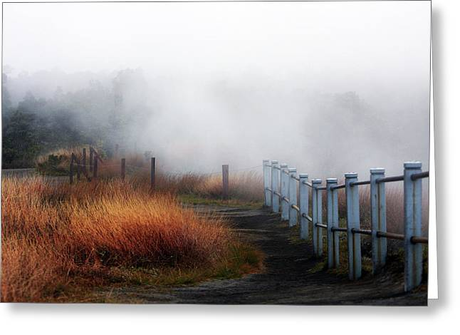 Volcano Fence Greeting Card by Ty Helbach