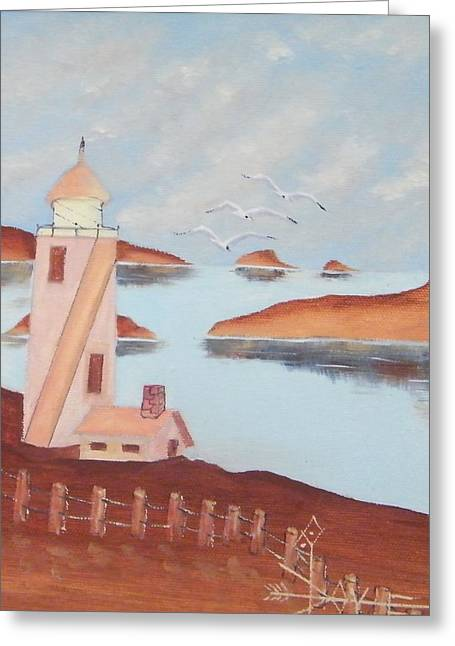 Volcano Harbor Lighthouse Greeting Card by Larry Doyle