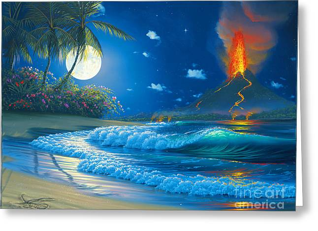 Volcano Moon Greeting Card
