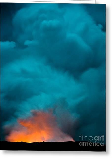 Volcano Smoke And Fire Greeting Card