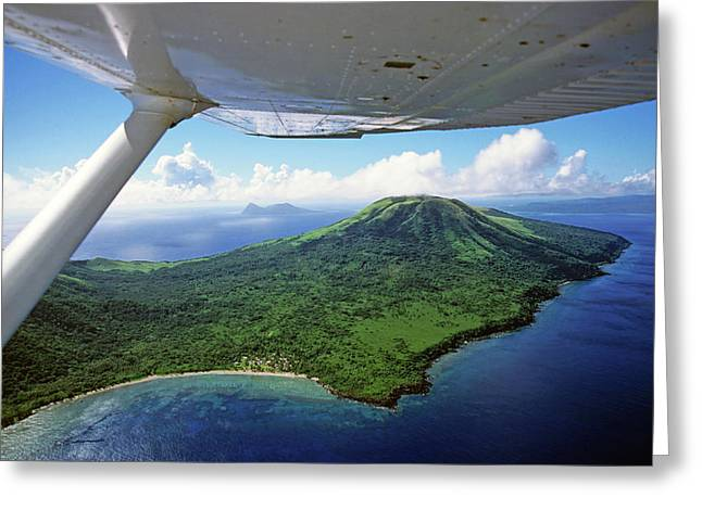 Volcanoes Seen From A Plane On The Island Of Efate Greeting Card by Sami Sarkis