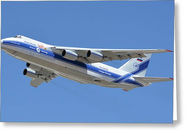 Greeting Card featuring the photograph Volga-dnepr An-124 Ra-82068 Take-off Phoenix Sky Harbor June 15 2016 by Brian Lockett