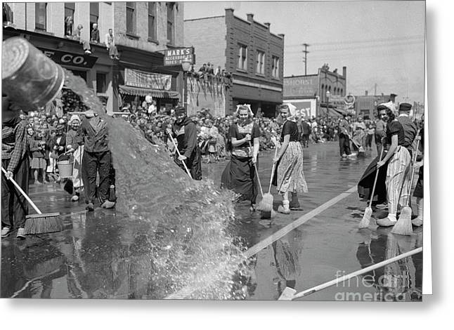 Volksparade Holland Michigan Street Cleaning 1946 Greeting Card by The Harrington Collection
