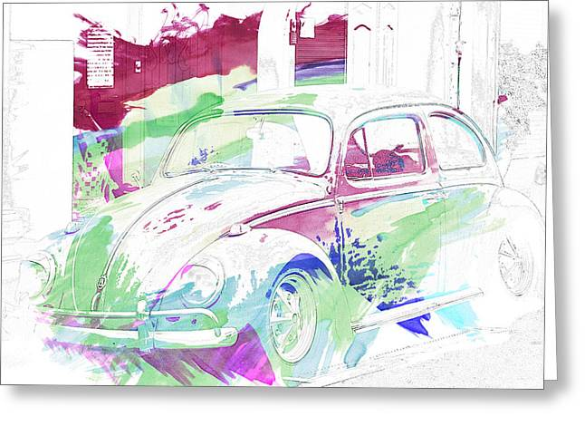Volkswagen Beetle Abstract Greeting Card by Georgia Fowler