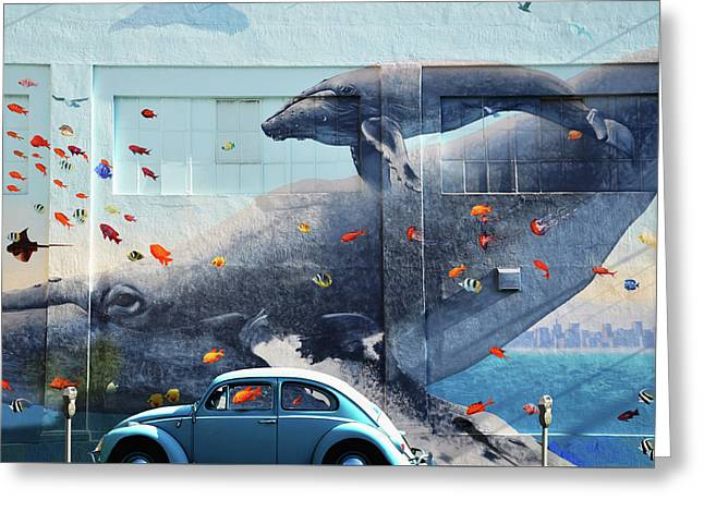Volkswagen Beetle And Humpback Whale Greeting Card