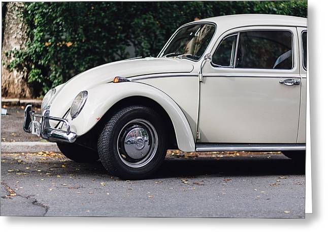 Volkswagen Beetle Retro Car At The City Street Greeting Card