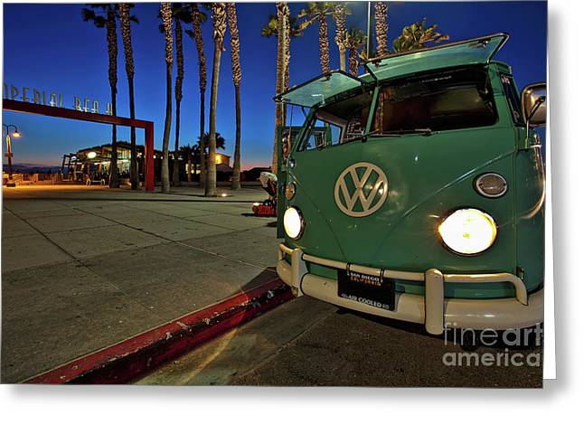 Volkswagen Bus At The Imperial Beach Pier Greeting Card