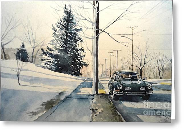 Volkswagen Karmann Ghia On Snowy Road Greeting Card