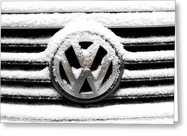 Volkswagen Symbol Under The Snow Greeting Card