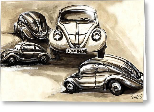 Volkswagen Type 30 Beetle Prototypes Montage Greeting Card by Geoff Latter