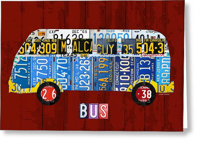 Volkswagen Vw Bus Vintage Classic Retro Vehicle Recycled License Plate Art Usa Greeting Card by Design Turnpike
