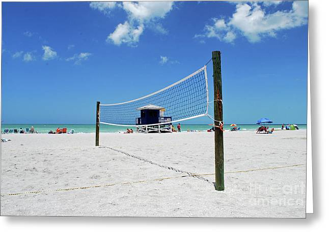 Greeting Card featuring the photograph Volley Ball On The Beach by Gary Wonning