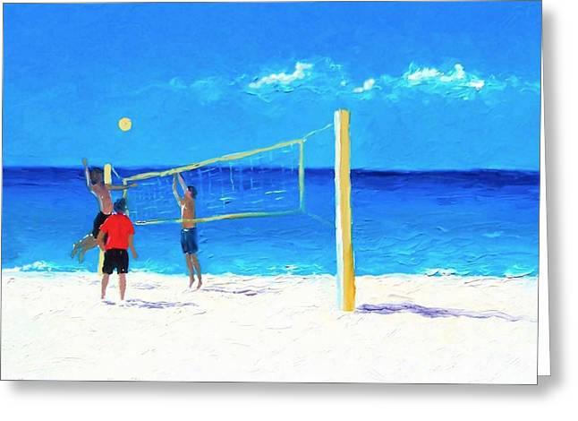 Volleyball Beach Painting Greeting Card