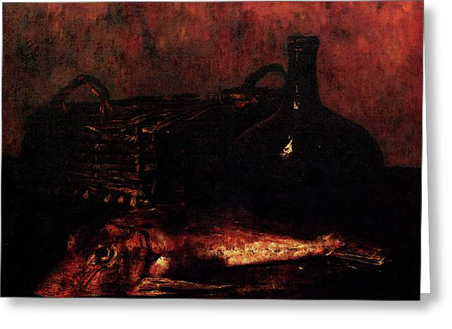 Vollon Antoine A Still Life With A Fish A Bottle And A Wicker Basket Greeting Card