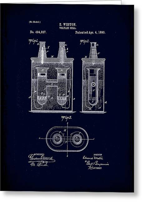 Voltaic Cell Patent Drawing 1b Greeting Card