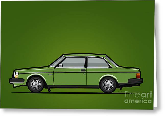 Volvo 242 Brick Coupe 200 Series Green Greeting Card