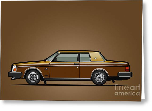 Volvo 262c Bertone Brick Coupe 200 Series Gold-bronze  Greeting Card by Monkey Crisis On Mars