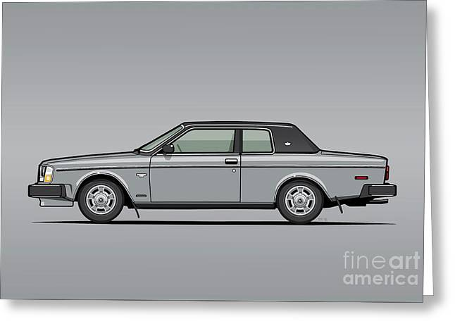Volvo 262c Bertone Brick Coupe 200 Series Silver Greeting Card by Monkey Crisis On Mars