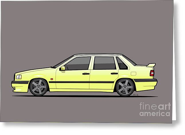 Volvo 850r 854r T5-r Creme Yellow Greeting Card by Monkey Crisis On Mars