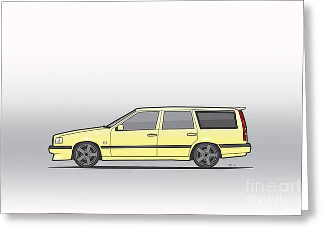 Volvo 850r 855r T5-r Swedish Turbo Wagon Cream Yellow Greeting Card by Monkey Crisis On Mars
