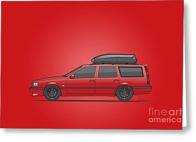 Volvo 850r 855r T5-r Swedish Turbo Wagon Red Greeting Card by Monkey Crisis On Mars
