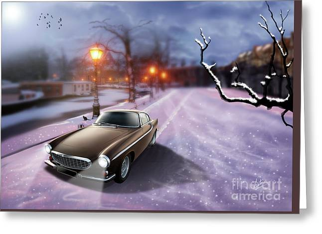 Volvo P1800 Snow Scene Greeting Card by Linton Hart