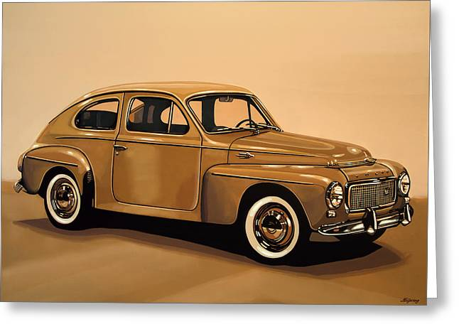 Volvo Pv 544 1958 Painting Greeting Card